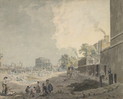 A drawn view of the back of Whitehall, the Treasury, Horse Guards, &c